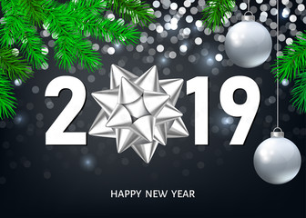 Fotomurales - Christmas and 2019  New Year  background with  silver  decoration.
