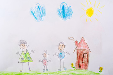 My childhood drawing is my happy family. The concept of child psychology.