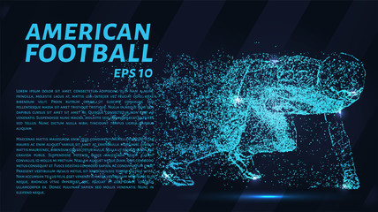 American football particles on a dark background. Football consists of dots and circles. Vector illustration