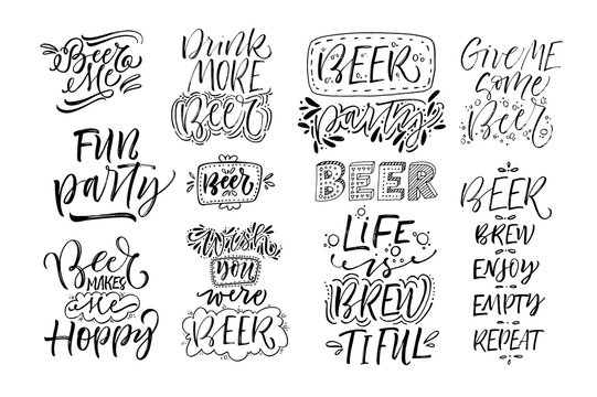 Set of beer phrases. Hand drawn vector quotes about beer and Oktoberfest.