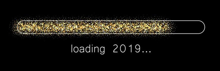 Loading 2019 New Year creative festive banner. Wall mural