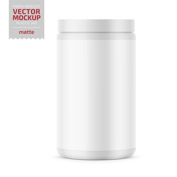 White matte plastic jar with lid for powder.
