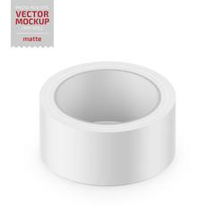 White matte cello tape roll. Realistic vector.
