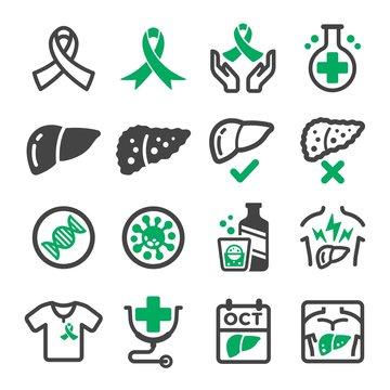 liver cancer icon set