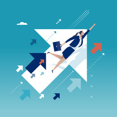 Upwards. Businesswoman flying between ascending arrow symbols. Concept business illustration.