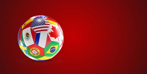 soccer ball flags design USA Canada Mexico 3d-illustration