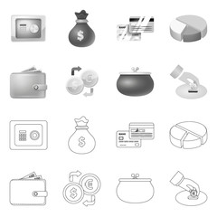 Vector design of bank and money icon. Collection of bank and bill vector icon for stock.
