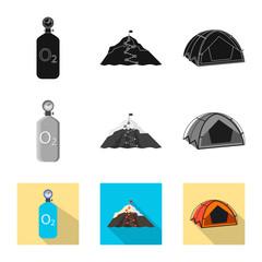 Vector illustration of mountaineering and peak icon. Set of mountaineering and camp vector icon for stock.