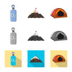 Vector illustration of mountaineering and peak icon. Set of mountaineering and camp stock symbol for web.