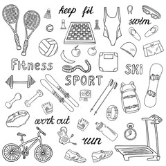Set of sport and fitness hand-drawn icons isolated on white background. Doodle accessories and equipment for running, skiing, swimming, weightlifting etc.. Black and white sketched illustration
