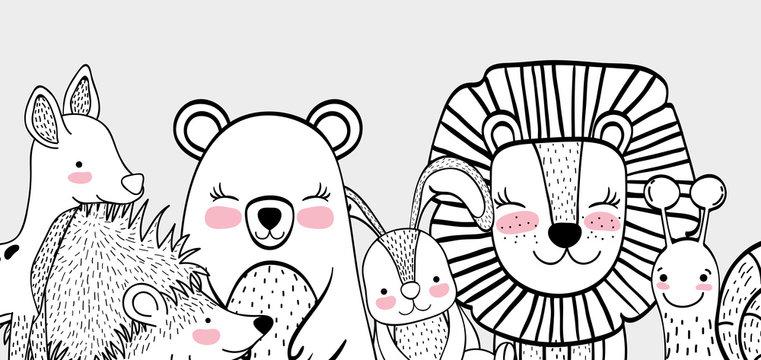 happy wild animals friends together