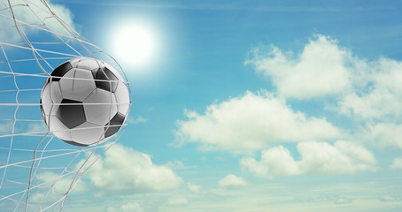 soccer ball soccer goal 3d-illustration at blue sky with clouds and sun