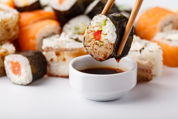 Printed roller blinds Sushi bar Delicious Peace of Sushi Rolls in Stick. Fresh Food Portion