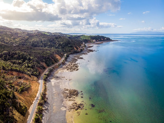Drone arial view of a stony beach on the Coromandel Peninsula