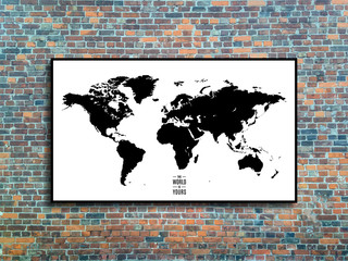 world map in a frame on brick wall background in loft style design. stock vector illustration eps10