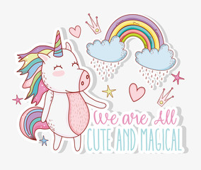 unicorn trendy with rainbow and hearts with crown