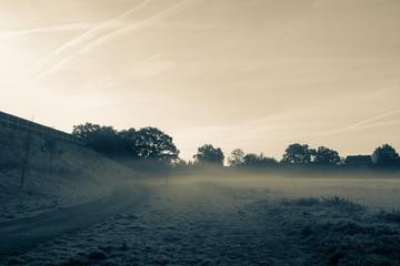geheimnisvolle Nebelschwaden am frühen Morgen. - Standort: Deutschland, Nordrhein - Westfalen, Borken