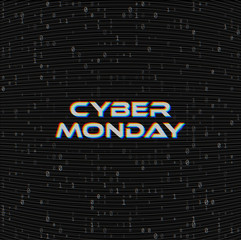 Vector Cyber monday Sale web banner on binary code dark background. Online web shopping data concept. Computer numbers 1,0. Analog TV Glitch moire texture.