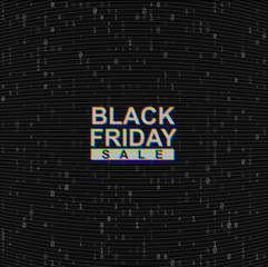 Vector Black Friday Sale web banner on binary code dark background. Online web shopping data concept. Computer numbers 1,0. Analog TV Glitch moire texture.