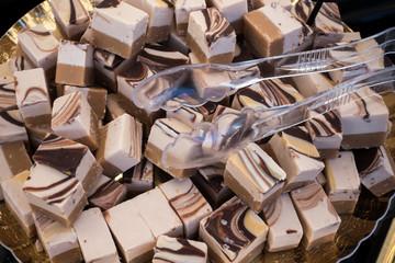 Blocks of Cremino: Typical Italian Chocolate with Gianduja.