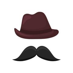 elegant male fedora hat with mustache