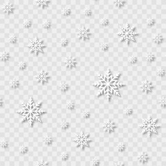 Seamless pattern with falling snowflakes on transparent background. Vector.