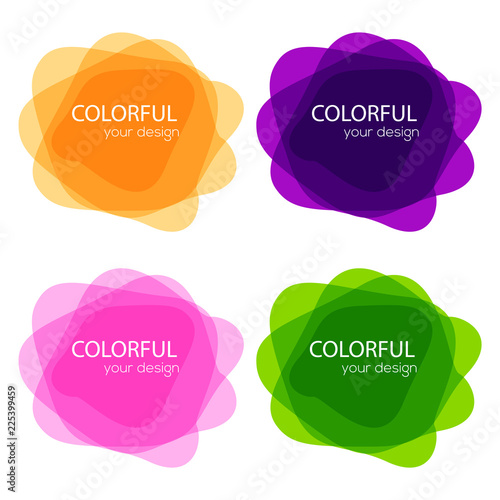 Set of round colorful vector shapes  Abstract vector banners  Design