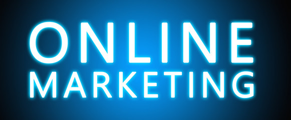 Online Marketing - glowing white text on blue background