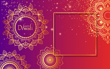 Happy Diwali Hindu gradient card with golden traditional ornament. Wall mural