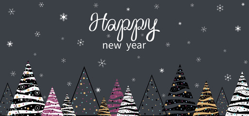 Happy New Year banner with abstract Christmas trees and snowflakes.
