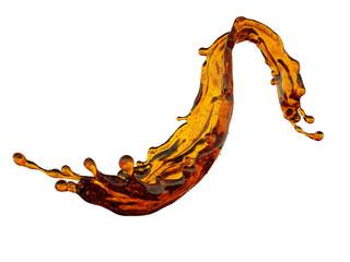 Obraz 3d render, yellow liquid splash, abstract wavy splashing jet, brandy, whiskey, alcohol, tea, juice, design element, illustration, isolated on white background - fototapety do salonu