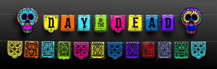 Mexican set of bunting for Day of the Dead. Dia de los Muertos. Hand drawing. For your design horizontal web banner. Vector illustration. Isolated on black background.