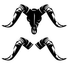 ram or goat en face skull with horns - black and white vector silhouette design