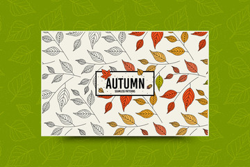 Autumn leaf seamless pattern. Fall leaves texture. Seasonal web banner template with leaf pattern. Frame with acorn and autumn leaves. Leaflet with copy space for text. Fall season decoration. Vector