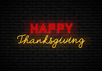 Neon sign Thanksgiving Day.