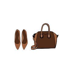 Women's accessories poster. Brown Bag and ladies ballet flats shoes. Female fashion accessories isolated on white background. Concept design woman trendy accessories. Fashion Vector Illustration