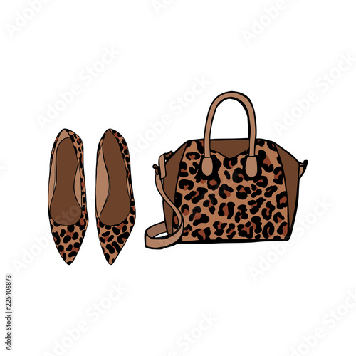 3cb8657e351e Women's Shoes and bag with fashionable leopard print. Female fashion  accessories with animal pattern isolated on white background.