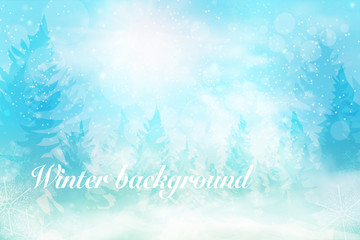 Winter blue sky with falling snow, snowflakes with winter landscape