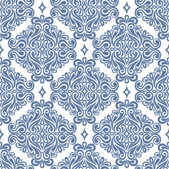 White and blue vintage vector seamless pattern, wallpaper. Elegant classic texture. Luxury ornament. Royal, Victorian, Baroque elements. Great for fabric and textile, wallpaper, or any desired idea.