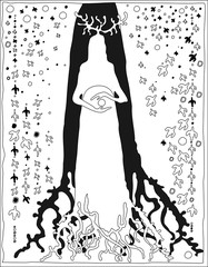 Sorceress shaman with heavenly stars and signs of the lower and upper world. Black and white graphics