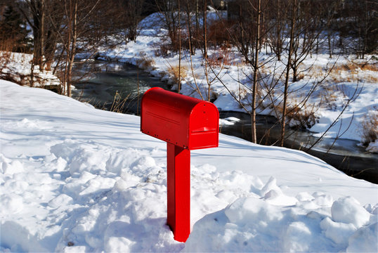 A red mailbox in the snow, St. John's, Newfoundland and Labrador