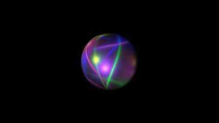 Sphere with bright neon lines in black space, 3d rendering modern abstract backdrop