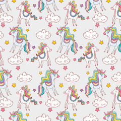 cute unicorn with kawaii clouds and stars background