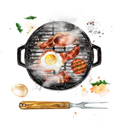 Bacon and Egg Breakfast on Grill. Watercolor Illustration.