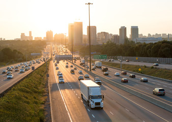 View of Highway 401 in Toronto Canada  at the sun Wall mural