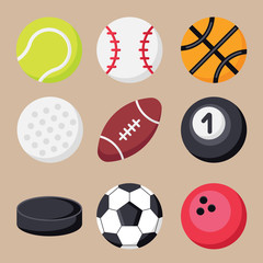 Set of sport balls flat icons. Collection of balls for football, soccer, tennis, rugby, basketball, billiard, baseball, bowling, golf, hockey puck in flat style. Sport equipment sign symbols