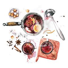 Foto op Plexiglas Waterverf Illustraties Mulled Wine Cooking . Watercolor Illustration.