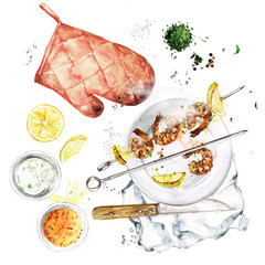 Foto op Plexiglas Waterverf Illustraties Grilled Shrimp Kebab. Watercolor Illustration.
