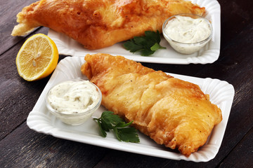traditional British fish consisting of mayonnaise and fried fish.