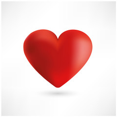 Bright red heart on white background. Vector